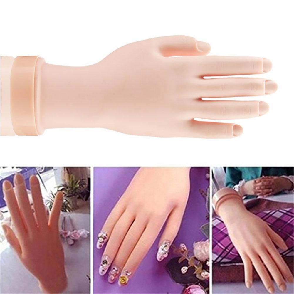1Pcs Nude Plastic False Nail Arts Painting Practice Hand Flexible Model Fake Hand Manicure Training Tool