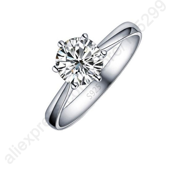 Hot-Classic-Real-Pure-925-Sterling-Silver-Jewelry-Crystal-Cubic-Zirconia-CZ-6-Claws-Women-Finger