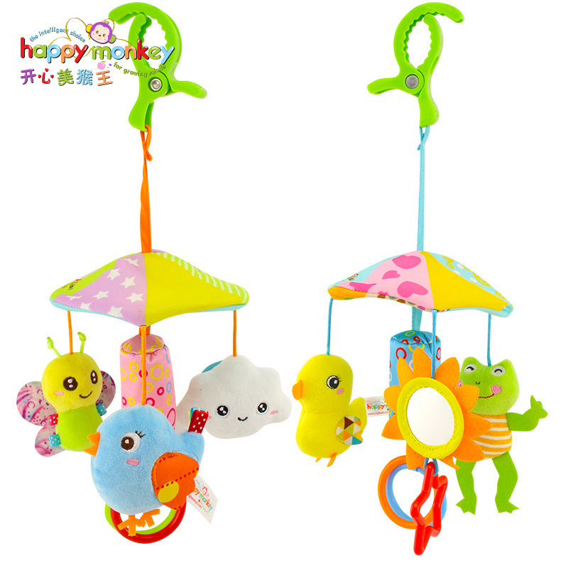 Happymonkey Baby Toys Animal Trolley Pendant Suspension Umbrella Bed Hanging Wind Chime 0-1-Year-Old Pacify Plush Toys