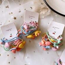 10 pçs/set coreano simples bonito colorido dos desenhos animados fruta animal borracha banda doce menina crianças moda rabo de cavalo acessórios para o cabelo