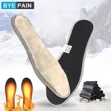 Утолщенные зимние шерстяные стельки BYEPAIN с защитой от холода, дышащие теплые плюшевые стельки унисекс из бамбукового угля для обуви, 1 пара
