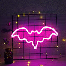 Pink Bat Neon Signs Night LED Light for Room Wall Decoration Halloween Party Hang Up Decorative Powered by USB and AA Battery(China)