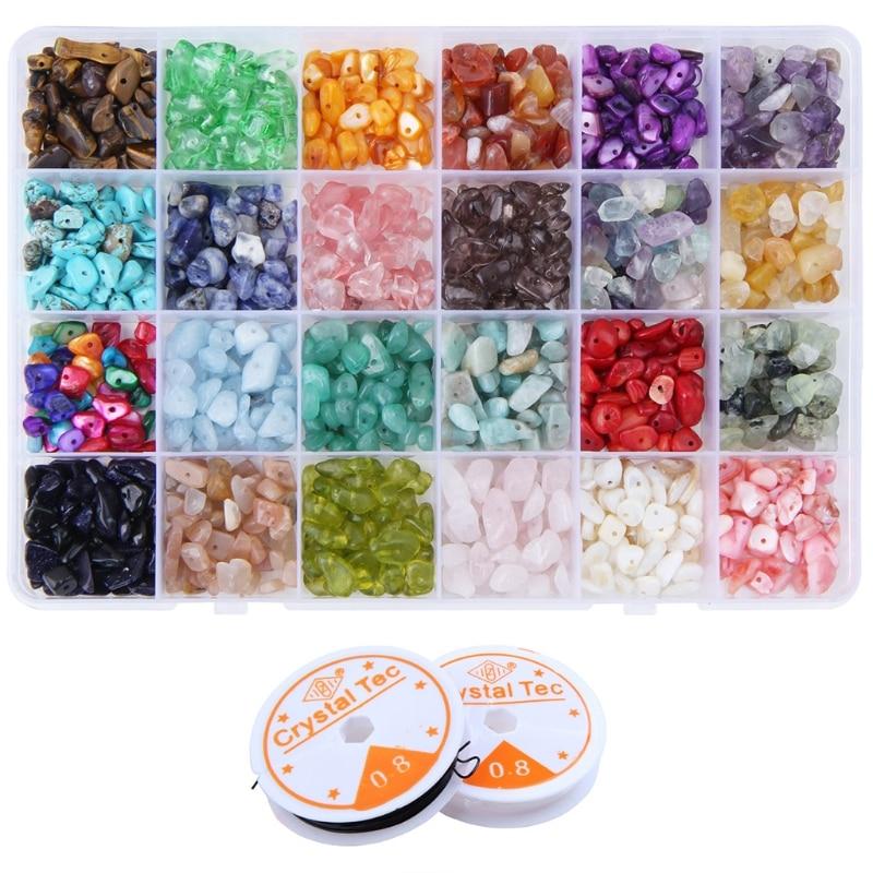 24 Grids Irregular Gemstone Chips Loose Beads Gravel Set Elastic Strings for Homemade Jewelry Crafts Earrings Bracelets