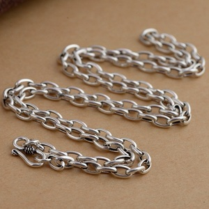 Image 2 - Pure Silver 4mm Thick Flat Circle Cross Link Chain Silver Necklace Sterling 925 Silver Jewelry