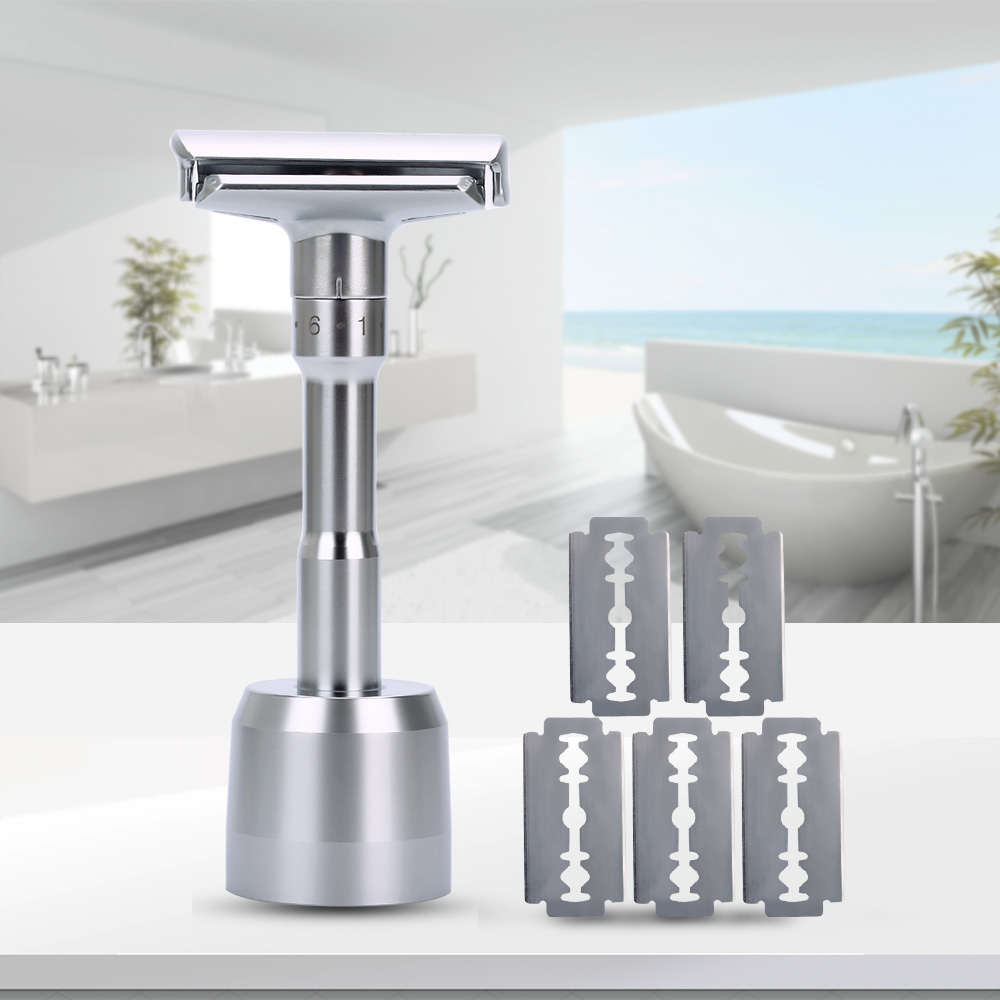 New Adjustable Safety Razor Double Edge Classic Mens Shaving Razor And Base 1-6 Levels Hair Removal Shaver 1 Handle & 5 Blades