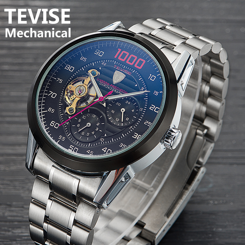 TEVISE Men Mechanical Watch 2019 New Luxury Tourbillon  Automatic Watches Waterproof Skeleton Wrist Watch Relogio Masculino 2019