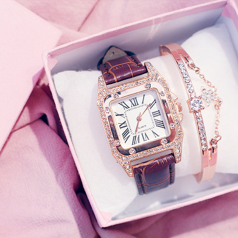 Women Diamond Watch Starry Square Dial Bracelet Watches Set Ladies Leather Band Quartz Wristwatch Female Clock Zegarek Damski 3
