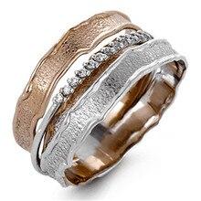 Bague en or Multi 14K pour femmes, pierres précieuses en Zircon naturel pur, bijoux en argent 925, bague avec diamant