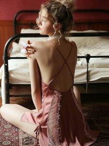 Image 4 - Пикантная шелковая ночная рубашка с цветами, летнее тонкое кружевное платье для сна с открытой вилкой и вырезами, кокетка, женская одежда для сна