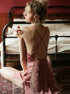 Image 4 - Sexy fleur soie chemise de nuit été mince fronde dentelle fourche ouverte robe de nuit évidé coquette femmes chemise de nuit vêtements de nuit