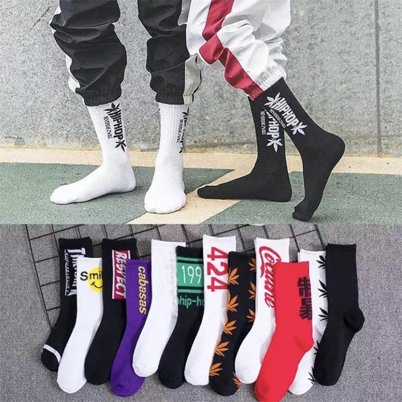 Hip Hop Socks Men And Women Street Shooting Stockings Fashion Sports Soft Cotton Printed Socks Skateboard Harajuku Letter Socks