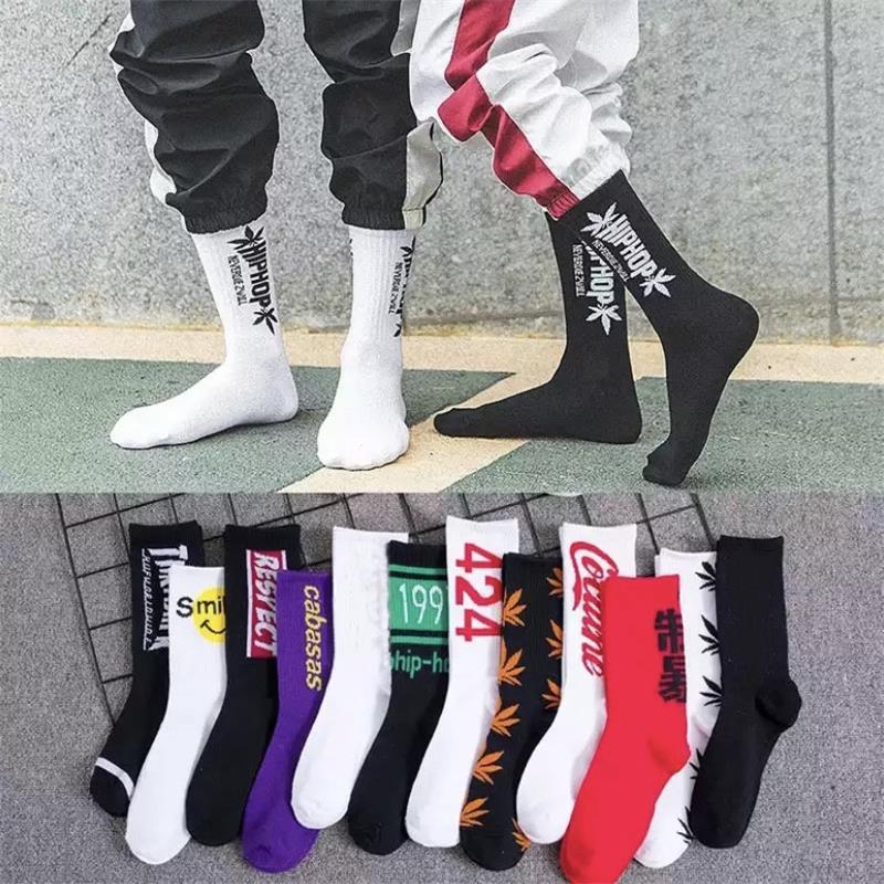 Hip Hop Socks Men And Women Street Shooting Stockings Fashion Sports Soft Cotton Printed Socks Skateboard Harajuku Letter Socks