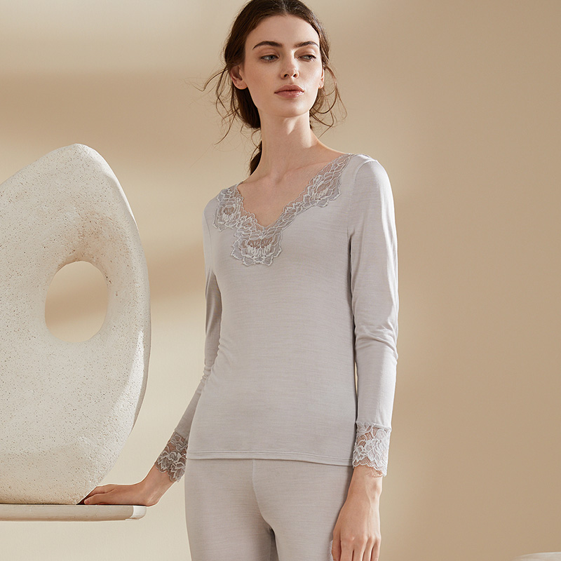 Long johns for women Natural SILK thermal underwear inner wear lace V-neck sleepwear Intimates ladies 2 pieces/set