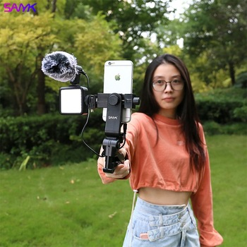 SANYK Mobile Phone Handheld Stabilizer With Microphone Fill Light Suitable For Vlog Photography Video Photography