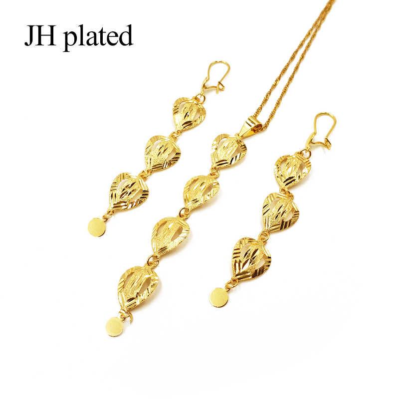 Jhmade 2019 الاثيوبية مجوهرات الذهب قلادة ملونة قلادة أقراط ل الأفريقي/إثيوبيا/إريتريا النساء مجوهرات الزفاف مجموعات