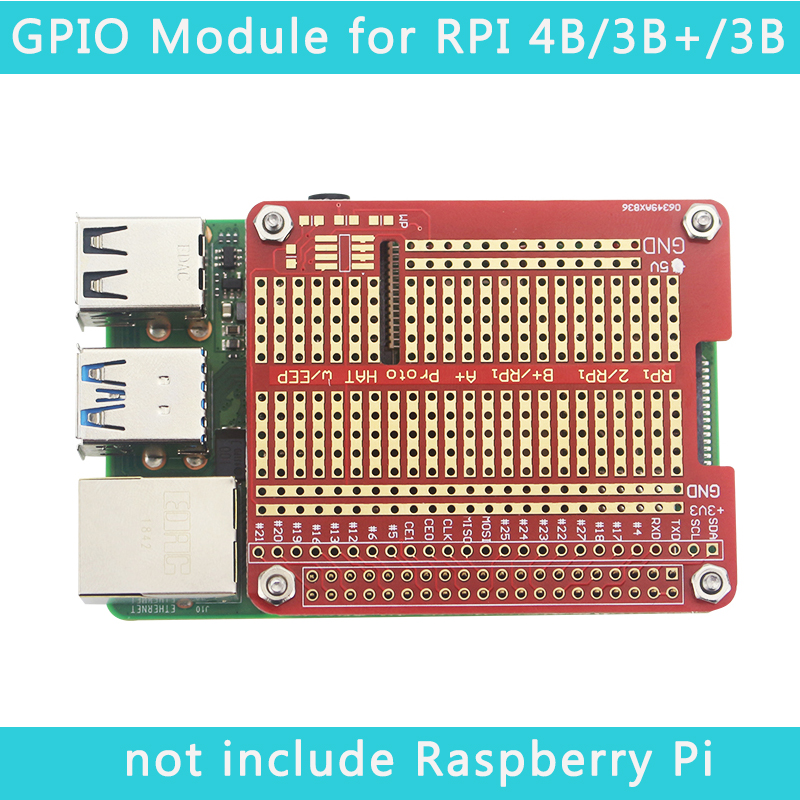 Raspberry Pi Proto HAT Shield Extension Board Also For Raspberry Pi 4 Model B Red RPI GPIO Board For UNO R3 Raspberry Pi 3B+/3B