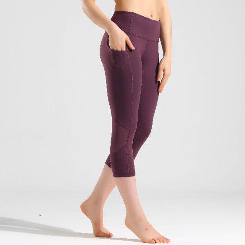 2020 Woman Capris 4 Way Stretch Fabricl Pant Sexy Gym Mesh Splice Leggings