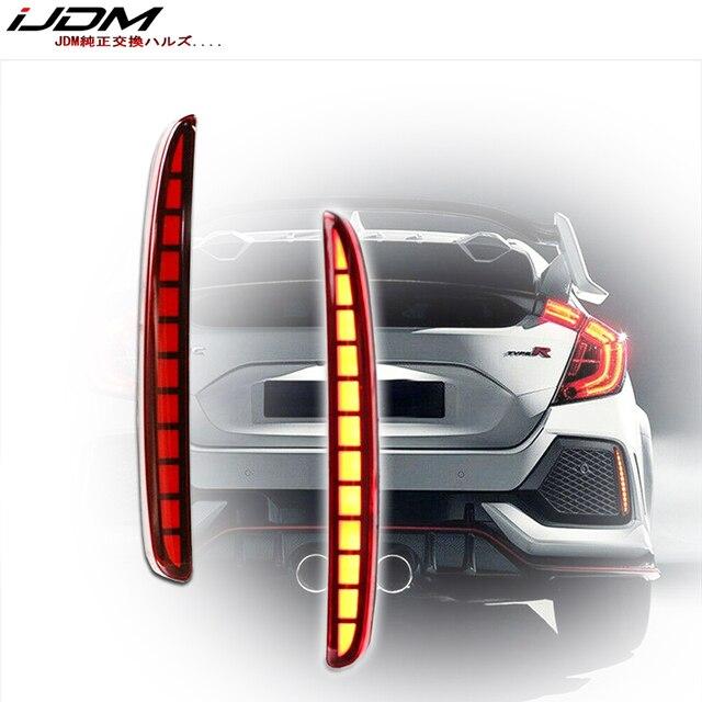 IJDM Luz LED multifunción para parachoques trasero, Bombilla de freno, Reflector, antiniebla, para Honda Civic Hatchback 2016 2017 2018