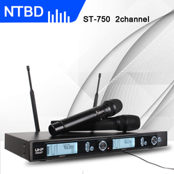 NTBD Karaoke Family Party Church High quality Black ST-750 UHF Wireless Microphone System Design with 2 HandHeld 2 Channel