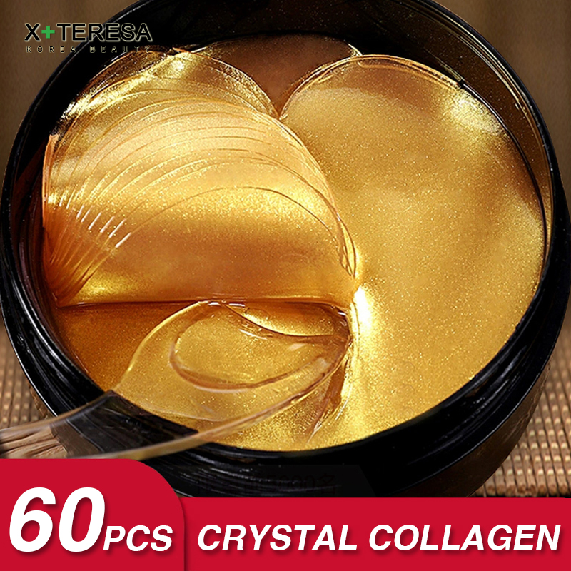 Precious 24K Gold Eye Patches 60pcs Korean Collagen Hydrogel Anti Aging Green Anti Wrinkles Eyes Mask Dark Circles Bags Remover