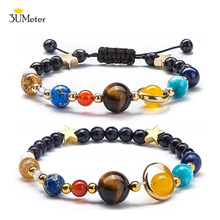 The Eight Planet Bracelet Solar System Universe Galaxy Adjustable Natural Stone Bead Bangle for Women Girls