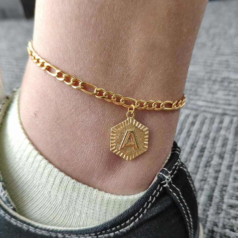 Summer Hexagon Alphabet Leg Bracelets For Women Foot Jewelry Stainless Steel Feet Chain Friendship Gifts Letter Initial Anklet