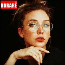 RBRARE Classic Round Glasses Frame Women Men Vintage Retro Clear Eyeglasses For Female Metal Eyewear Oculos