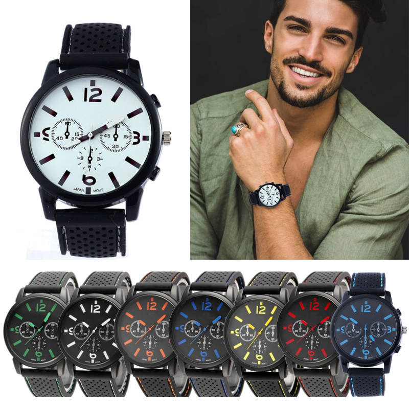 Man Watches Clock Strap Quartz Silicone Relogio Masculino Casual Fashion Student Sport
