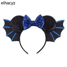 1PC New Hallowen Bat Wings Hairband For Girls Women Festival Minnie Mouse Ear Headband Sequin Bow Headwear Hair Accessories