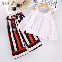 Girls Set Casual Sling Long Sleeve Tops + Stripes Wide Leg Pants 2pcs Suit Children's Girls Spring Autumn Children Clothing