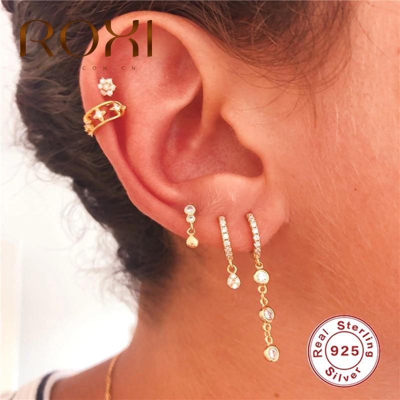ROXI Round Zircon Crytal Hoop Earrings 925 Sterling Silver Pendientes Mujer Earrings for Women Aros Drop AAAAA Zircon Jewelry