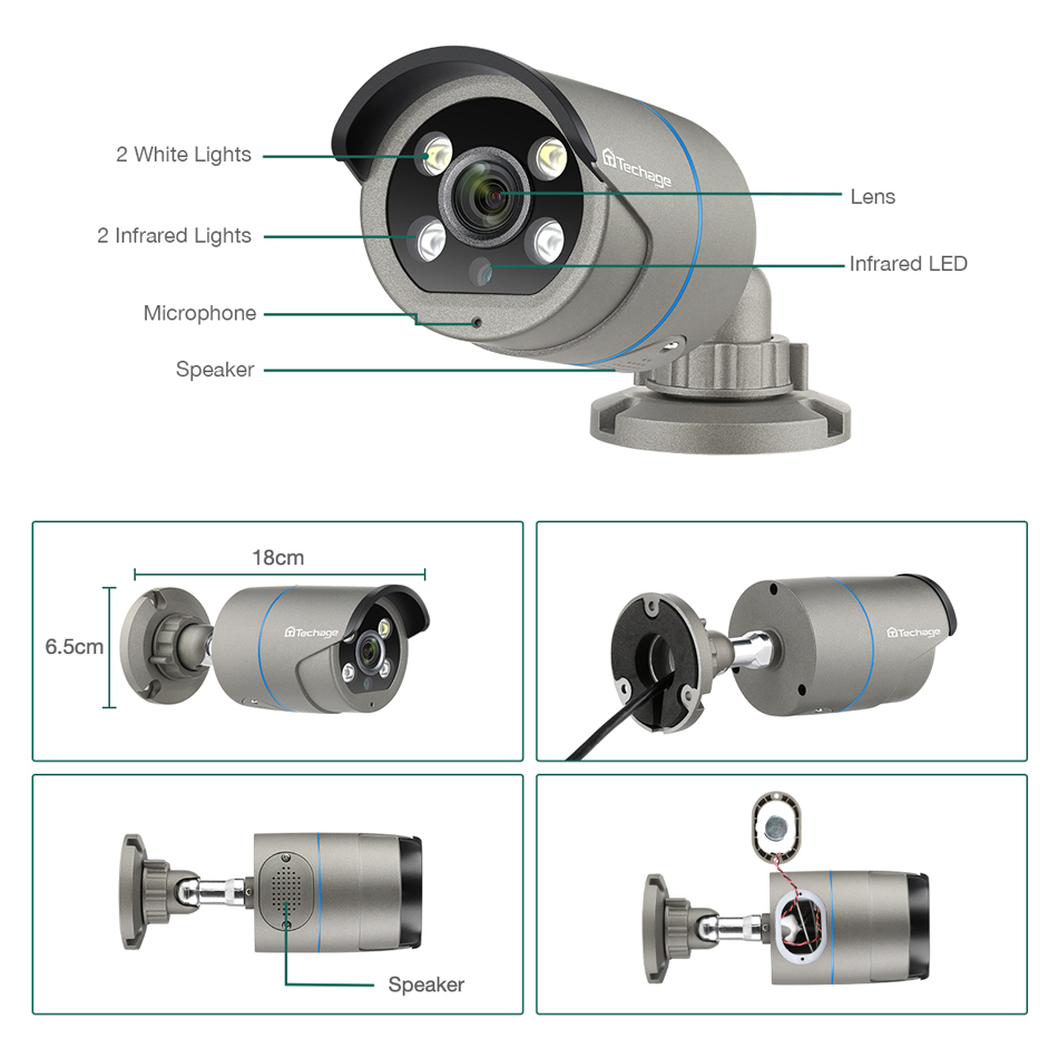 Image 2 - H.265 1080P 2.0MP POE IP Camera Two Way Audio IR Outdoor Waterproof P2P ONVIF CCTV Security Video Surveillance AI Camera for NVR-in Surveillance Cameras from Security & Protection