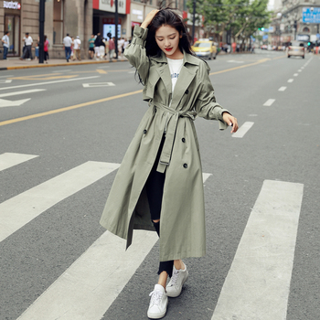 England Style Double-Breasted Long Women Trench Coat Belted with Flaps Spring Autumn Lady Windbreaker Duster Coat Female Clothes цена 2017