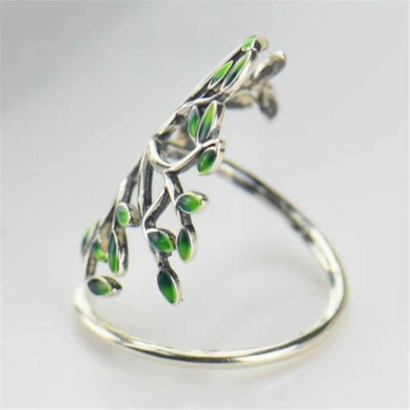 สาขา Leaf ปรับแหวนเคลือบสีเขียว Tree of Life เงินสเตอร์ลิง 925 แฟชั่นเครื่องประดับแหวนค็อกเทล