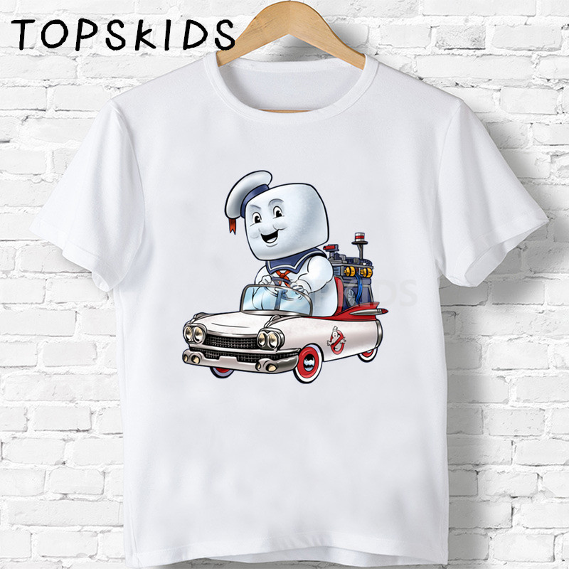 2019 Children Old School Ghostbuster Cartoon Print T-shirts Boys&Girls Stay Puft Funny Baby Tops Kids Summer Tshirt,HKP5224