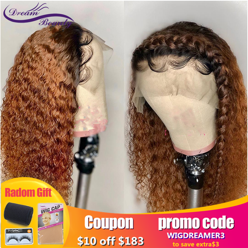 Curly 1B/27 Honey Blonde Ombre Invisible13X6Lace Front Human Hair Closure Wigs Pre Plucked With Baby Hair Remy Hair Dream Beauty