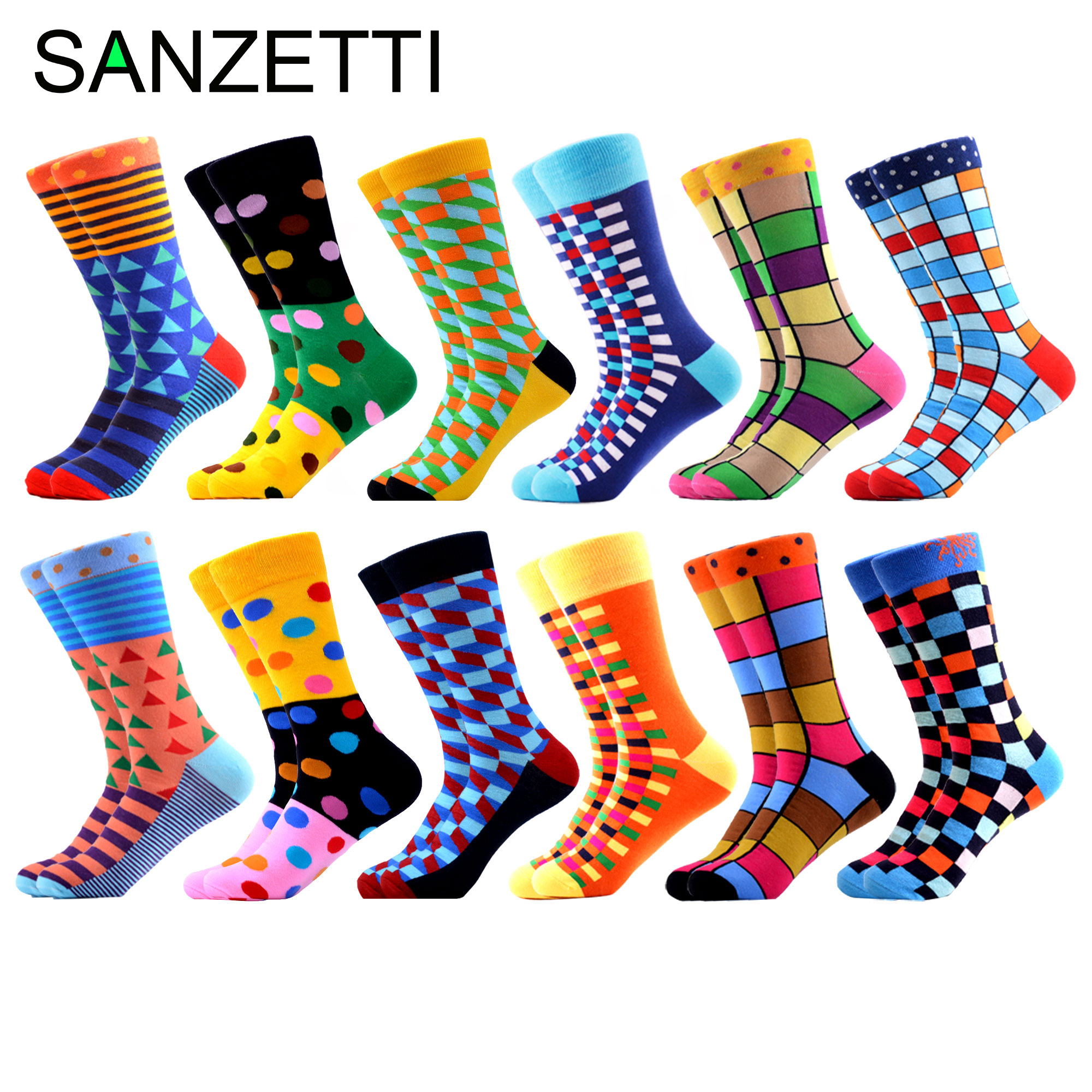 SANZETTI Men's Socks Hip Hop High Colorful Combed Cotton Happy Novelty Quality Skateboard Plaid Geometric Funny Socks For Gifts