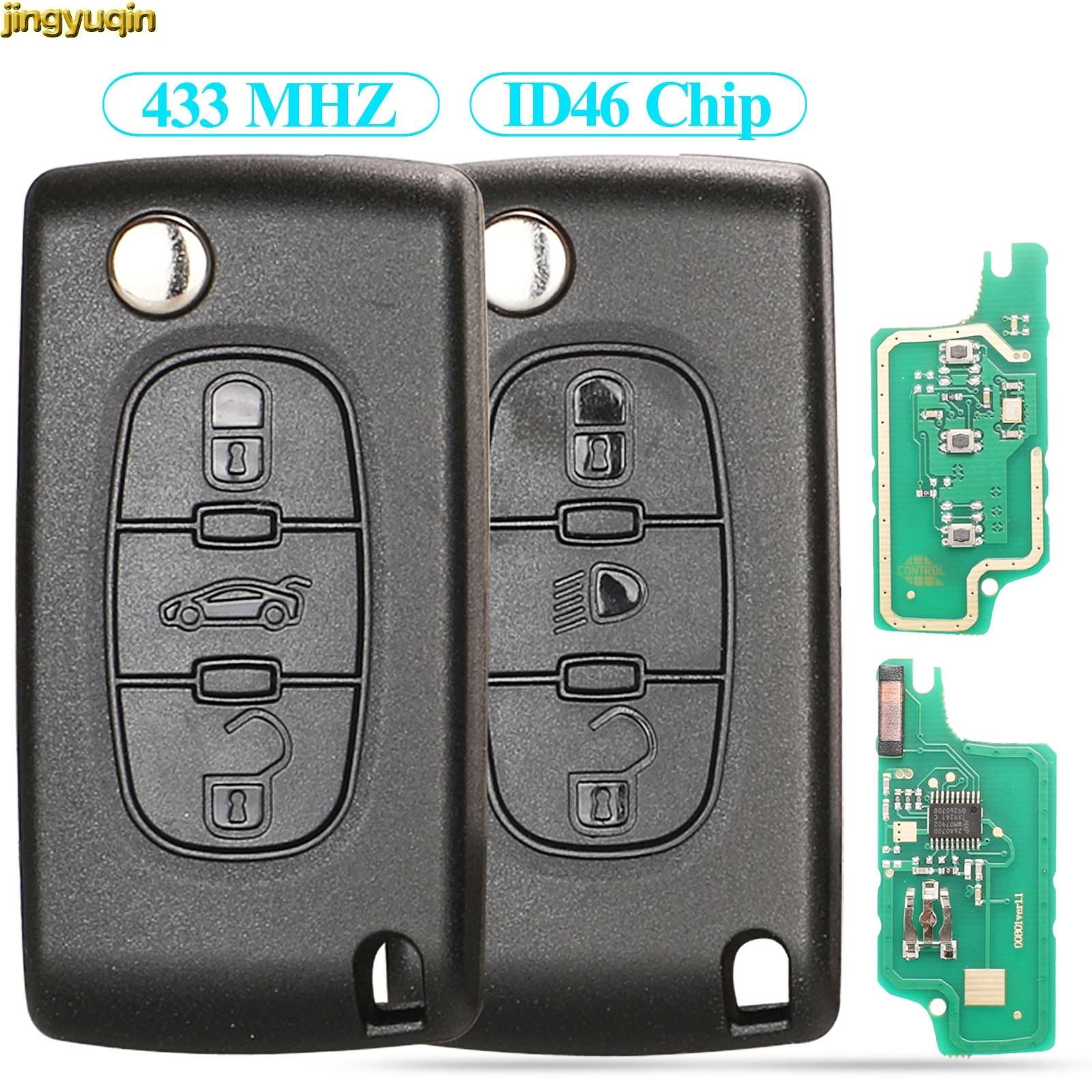 Jingyuqin дистанционный флип Автомобильный ключ ASK/FSK 433 МГц ID46 для Citroen C2 C4 C5 C8 для Peugeot 307 308 607 VA2/HCA CE0523/0536 3BTN светильник