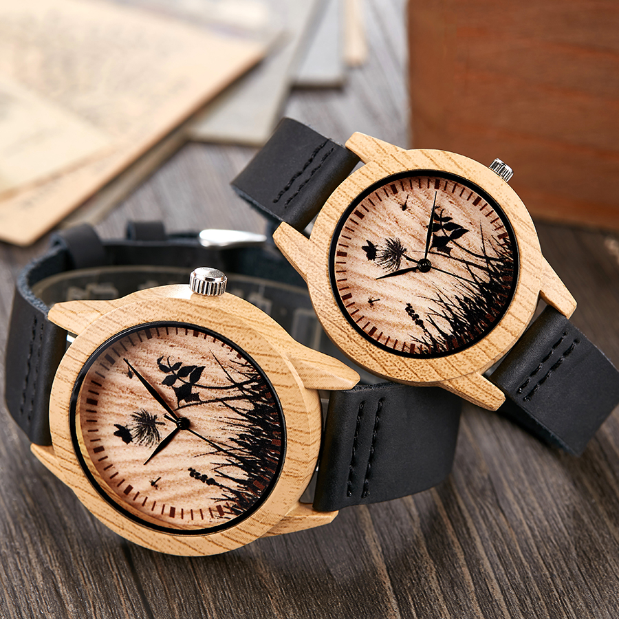 Black Vintage Imitation Wood Watch Men Women Wristwatch Imitate Wooden Watches Acrylic Case Lover Wrist Clock Skull Reloj Uhr