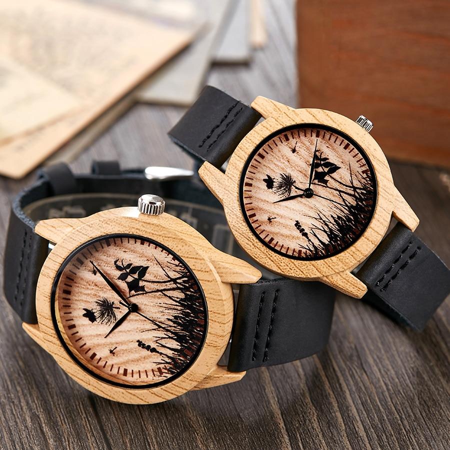 Black Vintage Imitation Wood Watch Men Women Wristwatch Imitate Wooden Watches Acrylic Case Lover Wrist Clock Skull Reloj Uhr