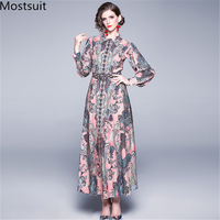2019 Newest Fall Runway Maxi Dress Women's Long Sleeve Turn down Collar Retro Printed Celebrity Evening Party Long Dress Vestido