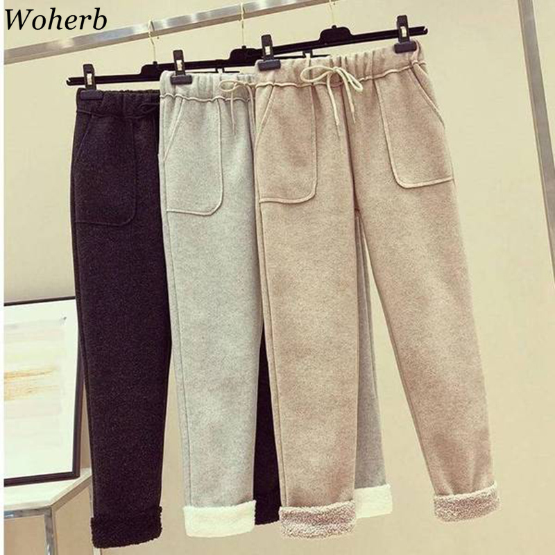 Woherb Winter Warm Harem Pants Women 2019 Causal Ankle-length Trousers Female Thick Lambskin High Waist Sweatpants Plus Size