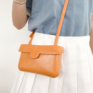 Image 1 - Small Square Messenger Shoulder Bags Leather Flap Simple Designer Handbags Vintage Casual Crossbody Bag For Women 2020