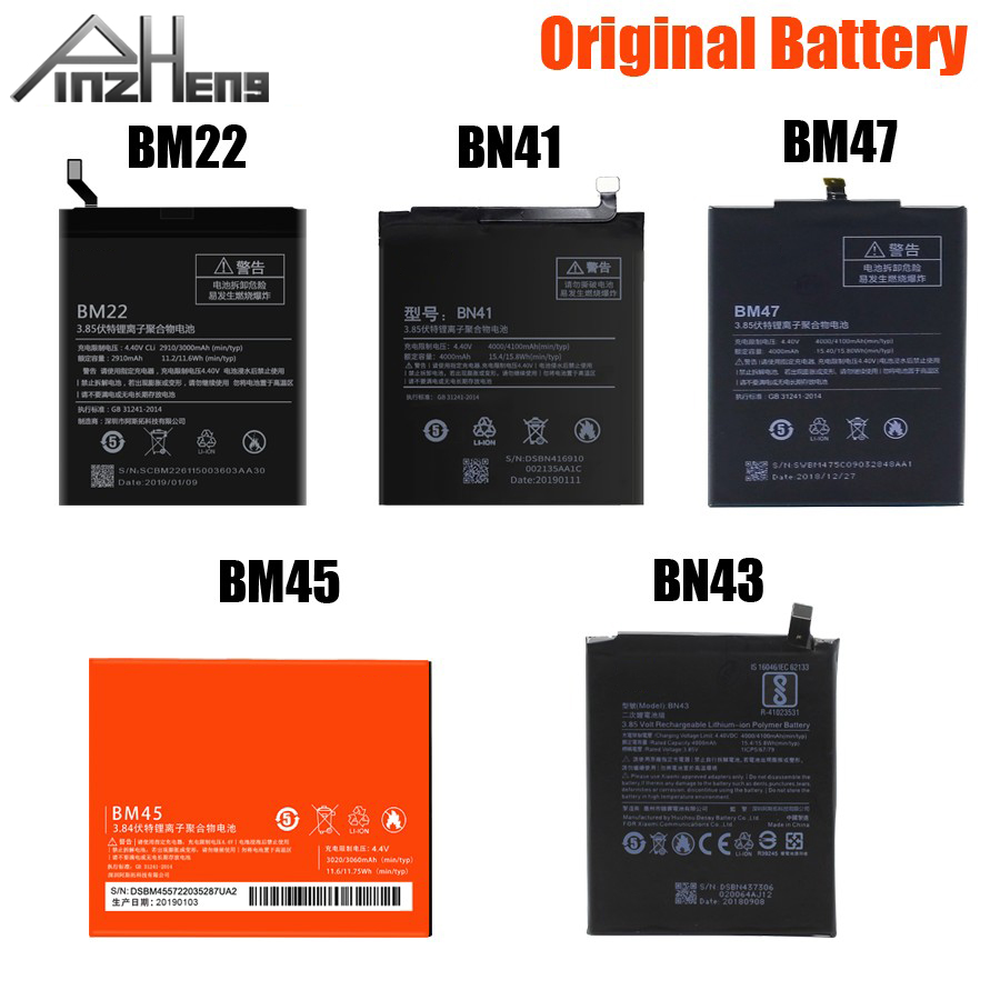 PINZHENG BM45 BM47 BN43 BM22 BN41 <font><b>Battery</b></font> For Xiaomi Redmi 3 3S 3X 4 Note 2 Note 4 <font><b>4X</b></font> Original <font><b>Battery</b></font> For Xiaomi <font><b>MI</b></font> 5 <font><b>Batteries</b></font> image