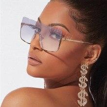 Retro Semi-Rimless Square Sunglasses Women One Piece Oversized Sun Glasses Luxur