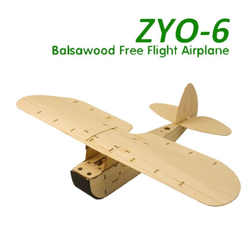 New Balsa Wood Airplane Model KIT Hand Launch Free Flight Glider Model Static Plane ZYO-6 ToyModel Hand Entry Level Building