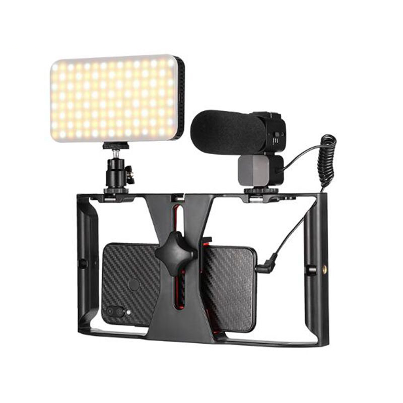 Live Streaming Vlog LED Lamp Light Microphone YouTube Video Handheld Phone Stabilizer For IPhone Android Smartphone Accessories