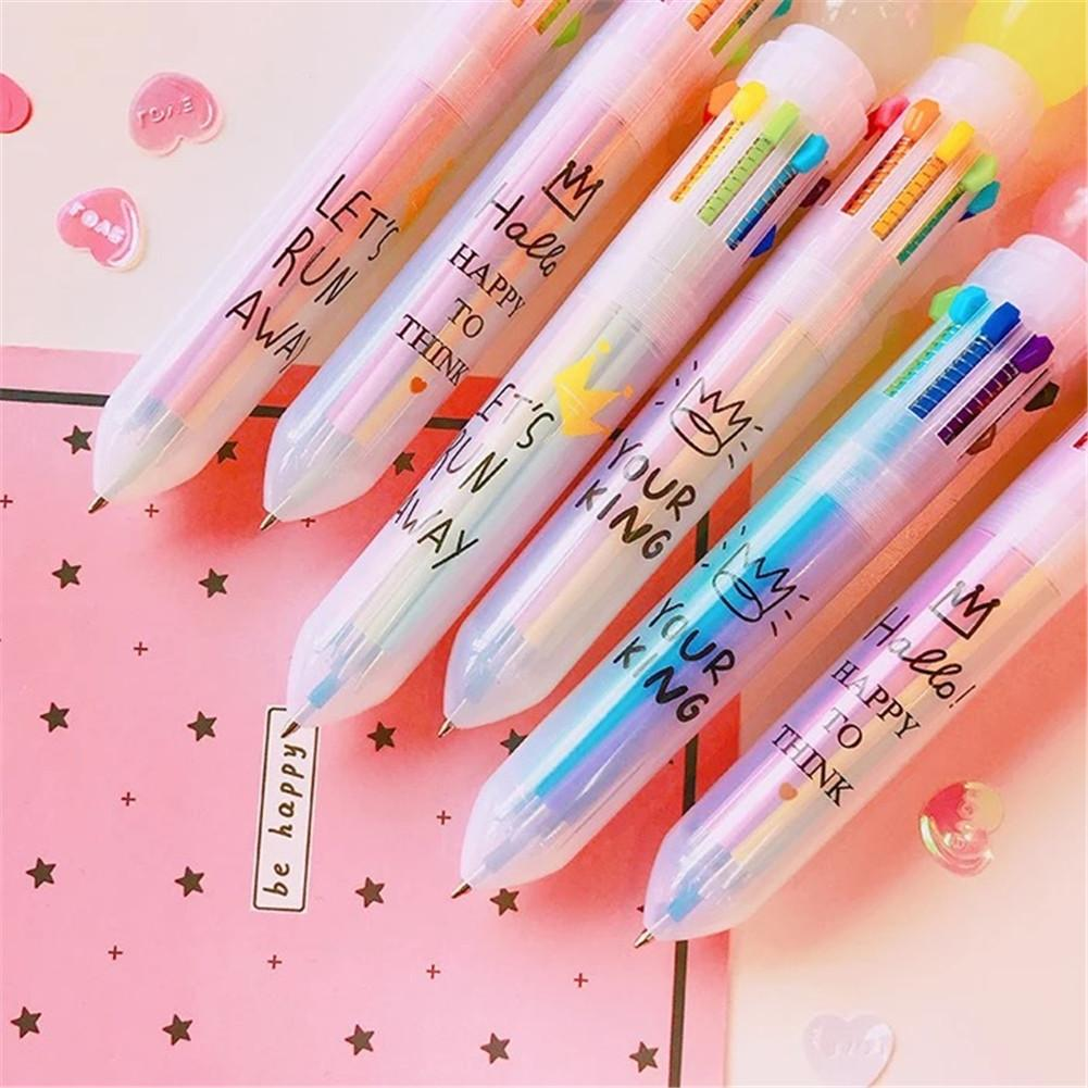Multi-color 10 In 1 Candy Color Ball Ballpoint Pen Cute Marker Pen Fresh Candy Color Ballpoint Pen New 2010