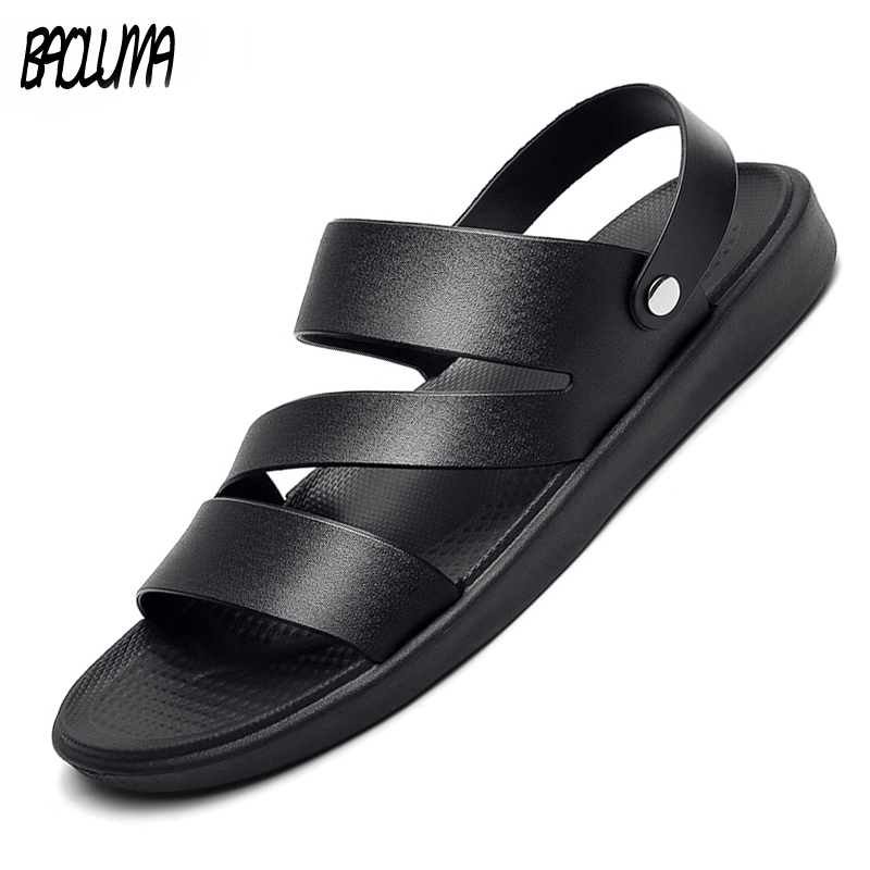 Summer Men's Sandals Outdoor PU Leather Hot Sale Breathable Light Men Roman Beach Sandals Bohemia Footwear Flip Flops Slippers