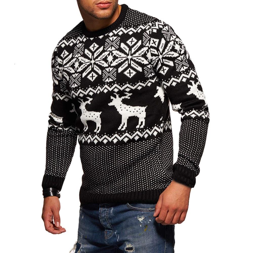 Men's Elk Christmas Pullovers Autumn Winter Warm Wool Sweaters Men O-neck Long Sleeve Knitted Sweaters Casual Coats Knitwears